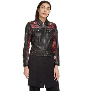 Carole Jewelled Faux Leather Embroidered Jacket